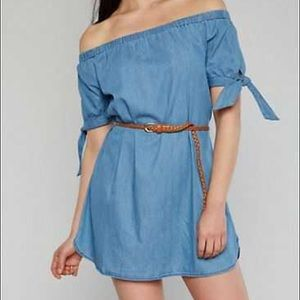 Haute Monde chambray off the shoulder dress